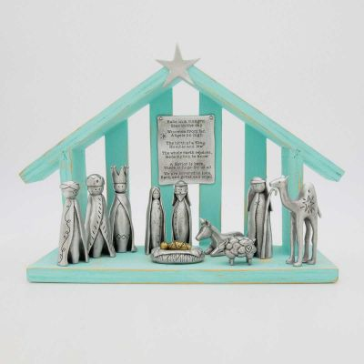 A savior is born limited edition pewter nativity set with 11 pewter pieces including Mary, Joseph, baby Jesus and his manger, three wisemen, a shepherd and handcrafted animals