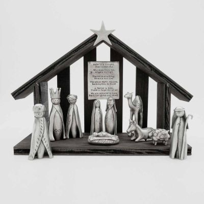 A savior is born pewter nativity set with 11 pewter pieces including Mary, Joseph, baby Jesus and his manger, three wisemen, a shepherd and handcrafted animals
