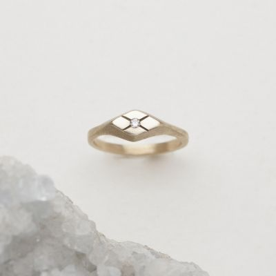 Adored ring hand-molded and cast in 14k yellow gold set with a 2mm genuine diamond