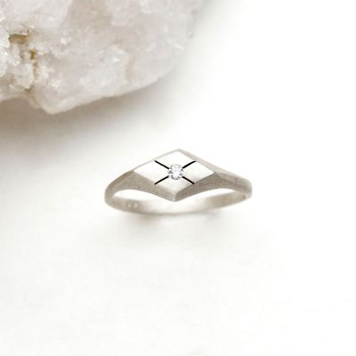 Adored ring hand-molded and cast in sterling silver set with a 2mm genuine diamond