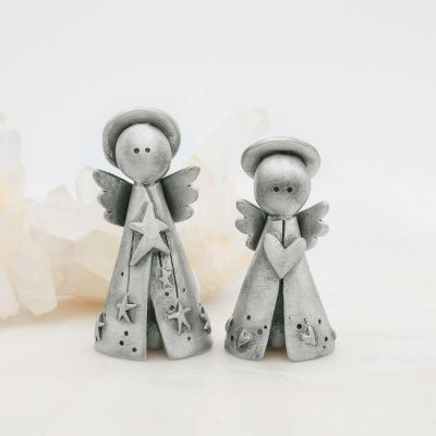 Angels on high figurine set hand-molded, cast in fine pewter
