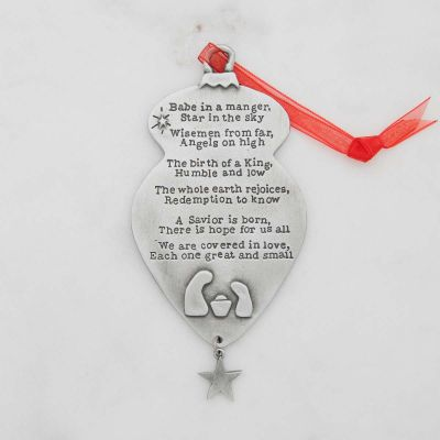 Babe in a manger ornament handcrafted and cast in pewter including a hand-stamped poem