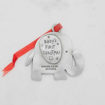 baby's first Christmas ornament of an elephant hand-molded and cast in fine pewter personalized with up to two lines with a name, phrase or date