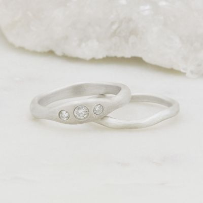 Be mine ring pair hand-molded and cast in 10k white gold set with a 3mm birthstone or a diamond