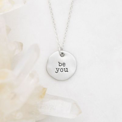 Be you disc necklace handcrafted in sterling silver personalized with engraved names, dates, or message