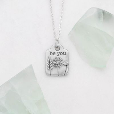 """Be you necklace handcrafted in pewter hung on a silver-toned link chain with the words """"be you"""" engraved"""