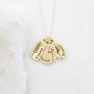 Personalized, handcrafted 14k yellow gold be you wildflowers necklace with 3 gold charms