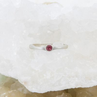 Bezel birthstone ring handcrafted in sterling silver set with a 3mm birthstone inside a sterling bezel