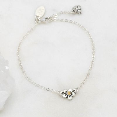 Sterling silver birthstone bloom bracelet with sweet flower charm and sterling silver lady bug charm