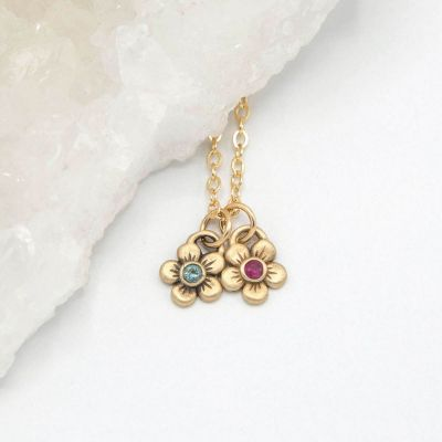 14k yellow gold birthstone bloom necklace with flower charms containing 2mm genuine birthstones