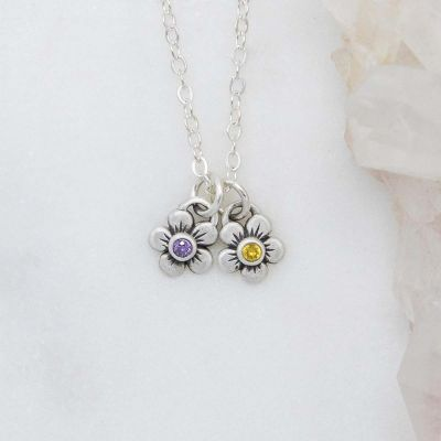 sterling silver birthstone bloom necklace with two flower charms containing 2mm genuine birthstones