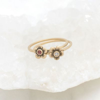 Birthstone bloom ring  handcrafted in 14k yellow gold with an antiqued/satin finish set with a 2mm birthstone