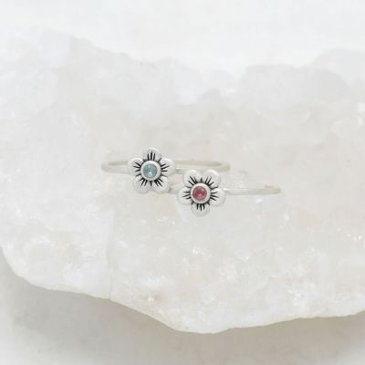 Birthstone bloom ring  handcrafted in sterling silver with an antiqued/satin finish set with a 2mm birthstone