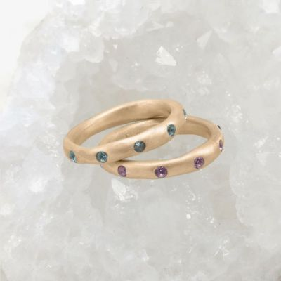Stackable birthstone rings handcrafted in 10k yellow gold with 2mm birthstones