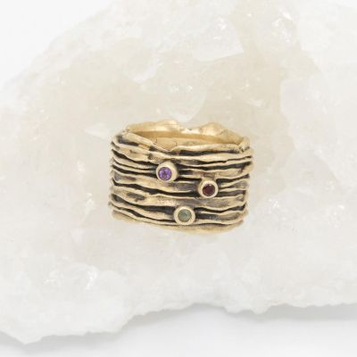 brave love birthstone ring handcrafted in 14k yellow gold customizable with up to five 2mm genuine birthstones