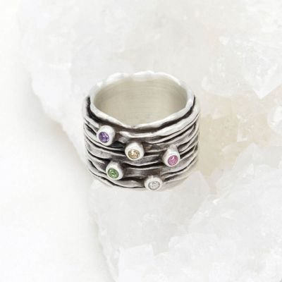 brave love birthstone ring handcrafted in sterling silver customizable with up to five 2mm genuine birthstones