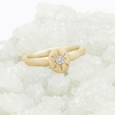 Bright love ring hand-molded in 10k yellow gold set with a 3mm birthstone or diamond