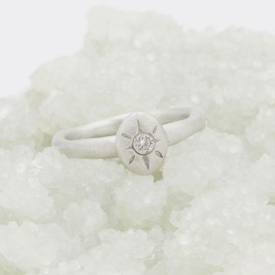 Bright love ring hand-molded in 10k white gold set with a 3mm birthstone or diamond