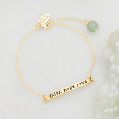 Handcrafted carry my heart 10k yellow gold  bracelet with aventurine stone