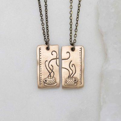 Coffee And Tea Necklace Set {Bronze}