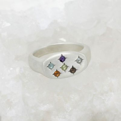 Constellation ring handcrafted in sterling silver set with birthstones and crystal gemstones
