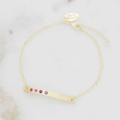 personalized 10k cross bar birthstone bracelet