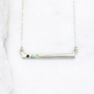 sterling silver cross bar birthstone necklace strung on a silver link chain customizable with up to 7 genuine 2mm birthstones