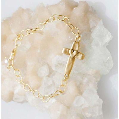 cross of faith bracelet 14k gold