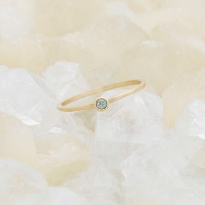Handcrafted 14k yellow gold Dainty finespun birthstone ring with a genuine birthstone or conflict free diamond