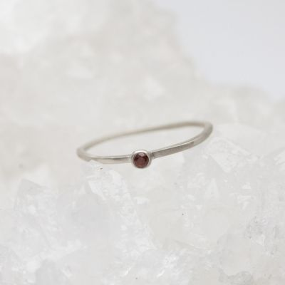 sterling silver Dainty finespun birthstone ring with a genuine birthstone or conflict free diamond