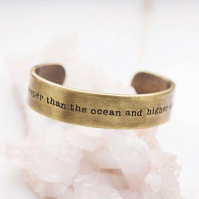 Handcrafted artisan bronze-plated pewter deeper than the ocean cuff bracelet