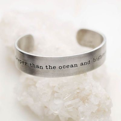 Handcrafted artisan pewter deeper than the ocean cuff bracelet