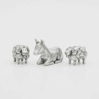 extra animal nativity figurine set hand-molded and cast in fine pewter including two sheep and a donkey