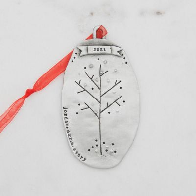 Family tree ornament hand-molded and cast in fine pewter with hand-stamped personalization