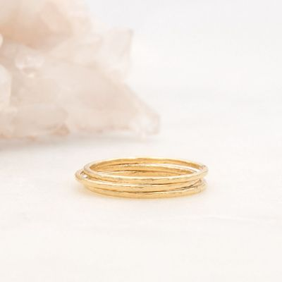 Featherweight stacking rings with 3 stackable ring handcrafted in yellow gold sterling silver