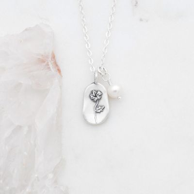 February Birth Flower Necklace in Sterling Silver