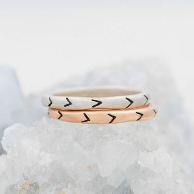 Forward arrows stacking ring handcrafted in sterling silver and stackable with other mix and match stacking rings