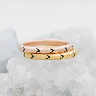 Forward arrows stacking ring handcrafted in yellow gold sterling silver and stackable with other mix and match stacking rings