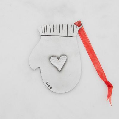 found mitten ornament hand-molded and cast in fine pewter and personalized with a special name, phrase or date