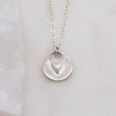 sterling silver heart charm strung on sterling silver link chain full of love necklace