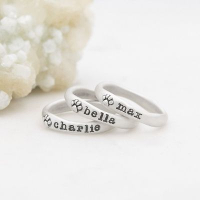 furry footprint sterling silver stacking ring personalized with pet names