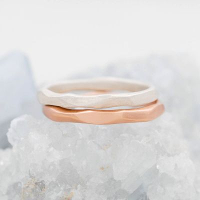 Geometric stacking ring handcrafted in rose gold sterling silver and stackable with other mix and match stacking rings