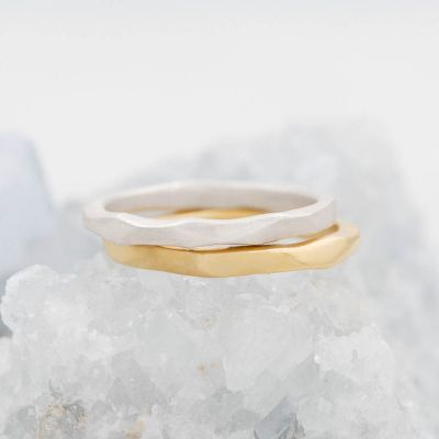 Geometric stacking ring handcrafted in yellow gold sterling silver and stackable with other mix and match stacking rings