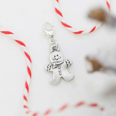 Gingerbread Boy Bracelet Charm with red and white string