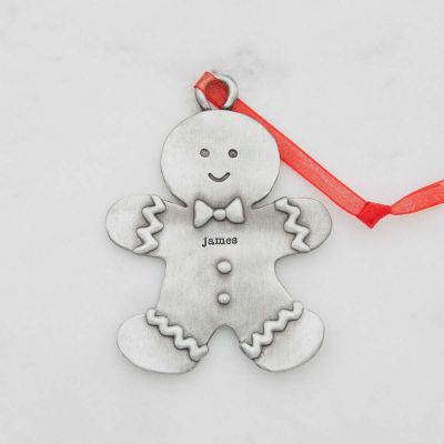 Gingerbread dad ornament hand-molded and cast in pewter with a personalized name