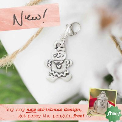 gingerbread girl bracelet charm {sterling silver} with twine