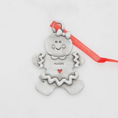 Gingerbread girl ornament hand-molded and cast in pewter with a personalized name