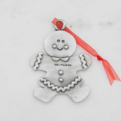 Gingerbread mom ornament hand-molded and cast in pewter with a personalized name