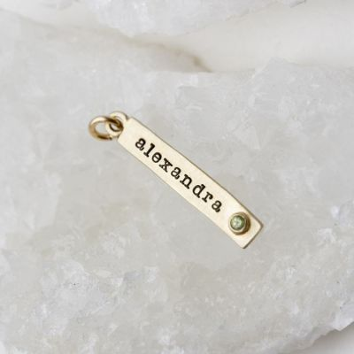 Bezel Birthstone Tag {14K Gold}