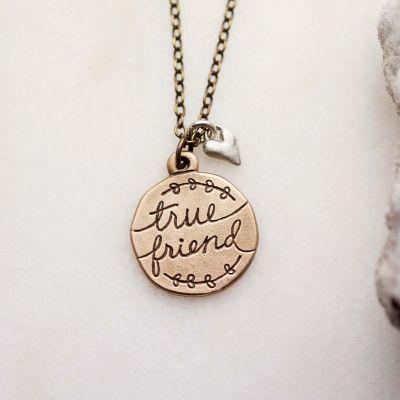 Heart To Heart True Friend Necklace {Bronze}